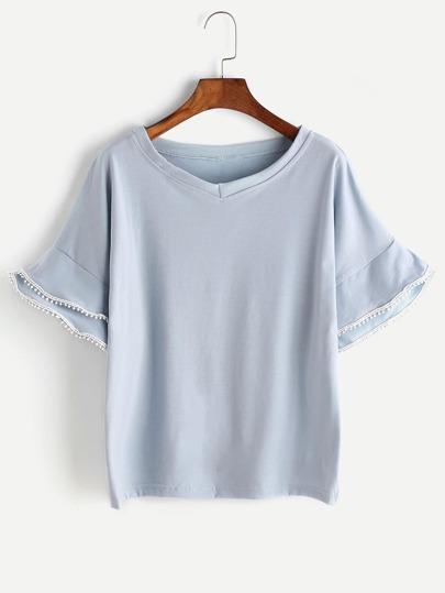 Tiered Bell Sleeve Crochet Trim T-shirt