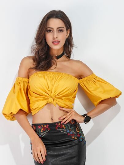 Yellow Off The Shoulder Lantern Sleeve Knotted Hem Top