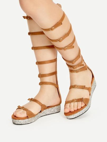 Khaki Buckle Strap Gladiator Sandals