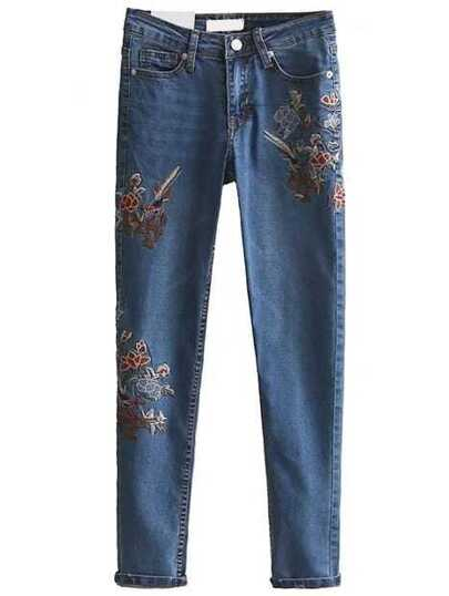 Flower Embroidered Slim Jeans