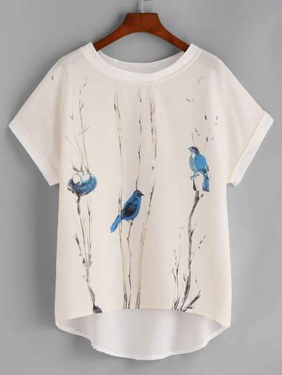 Graphic Print Contrast Trim Dip Hem Chiffon Top