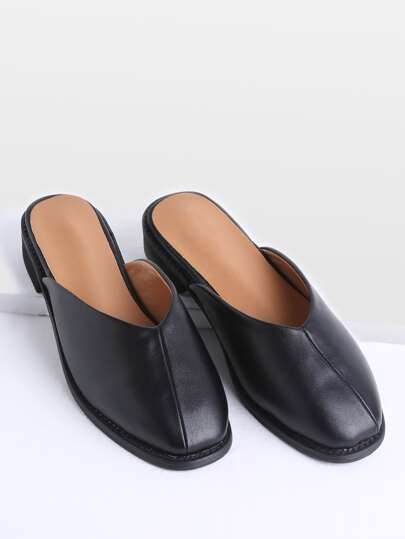 V Cut Heeled PU Mules