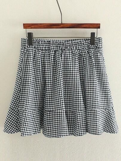 Elastic Waist Gingham Ruffle Hem Skirt Shorts
