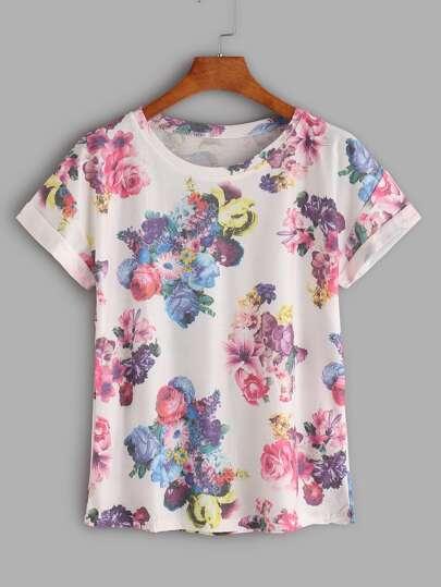 Floral Print Cuffed T-shirt