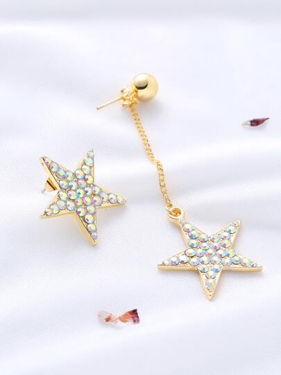 Gold Rhinestone Encrusted Asymmetric Star Earrings