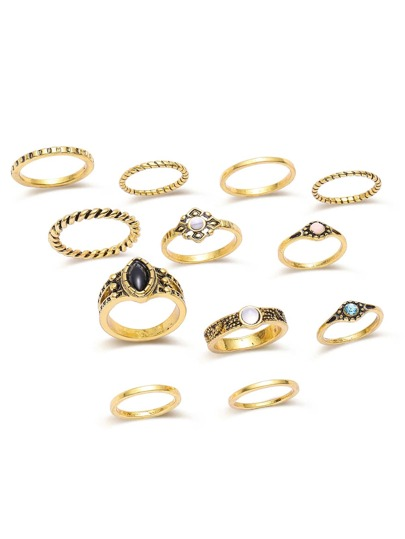 Placcato oro con strass Ring Set