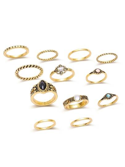 Set anillo con apliques cristales - dorado