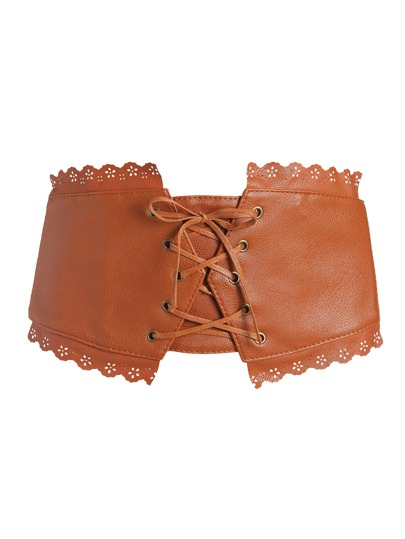 Camel Scalloped Trim Lace Up PU Korsett Gürtel
