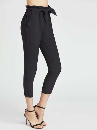 Pantalones de cintura con volantes con cordón - negro