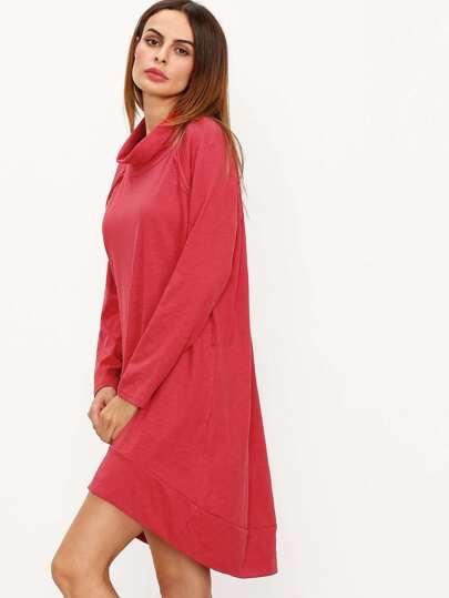 Burgundy Cowl Neck Long Sleeve High Low Dress