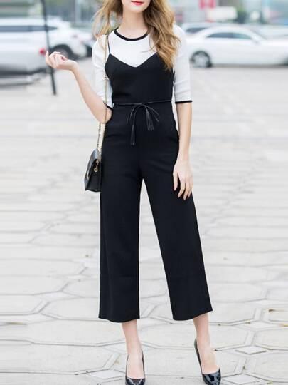 Black Knit Shirt Two-pieces Jumpsuits