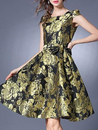 Gold Tie-Waist Jacquard A-Line Dress