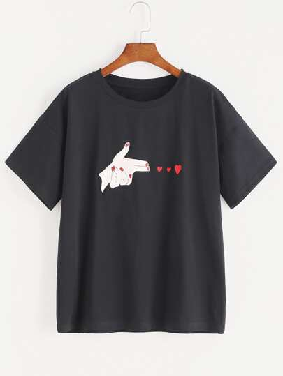 Gun Shaped Hand Patch And Heart Embroidered T-shirt