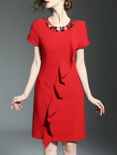 Red Beading Ruffle Pockets Sheath Dress