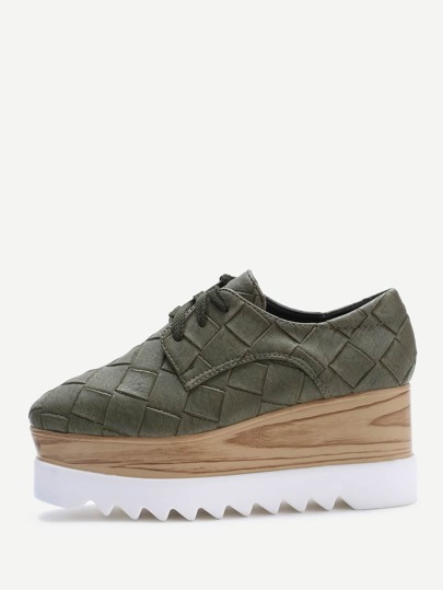 Army Round verde zeppe in sughero Toe Lace-up