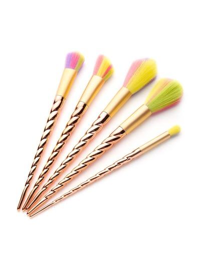 Poignée de vis en or coloré brosse de maquillage 5pcs