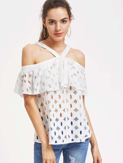 Bow Tie Crisscross Hollow Out Frill Lace Top