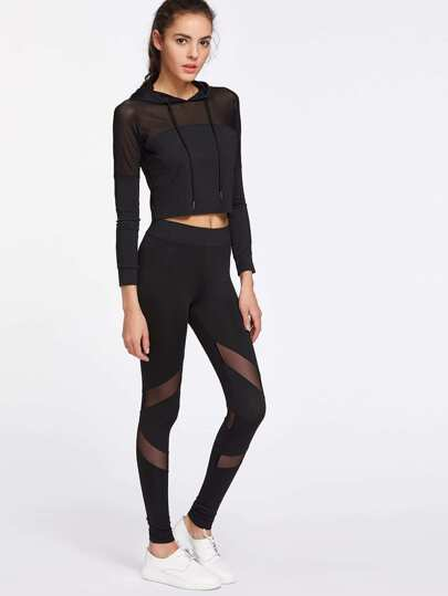 Aktive Mesh Paneled Kapuzenoberteil mit Leggings