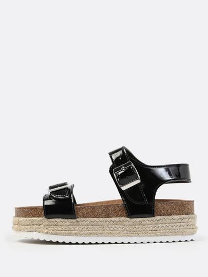 Chunky Flatform Sandals BLACK