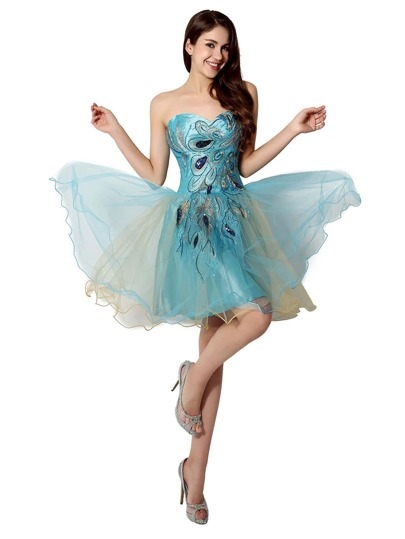 Blue Peacock Ling Embroidery Sweetheart Tulle Bridesmaid Dress