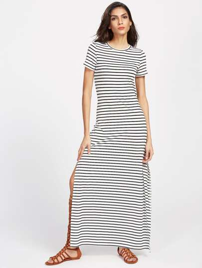 Striped Side Slit Maxi Tee Dress
