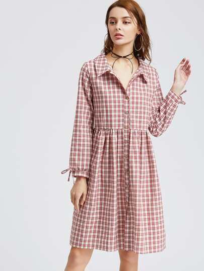 Tartan Plaid Tie Detail Shirt Dress