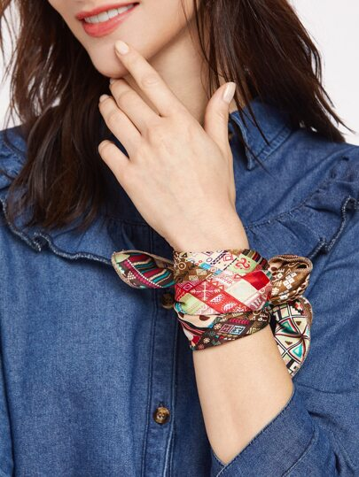 Pañuelo cuadrado vintage con estampado - multicolor