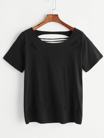 Camiseta rasgada con aberturas - negro