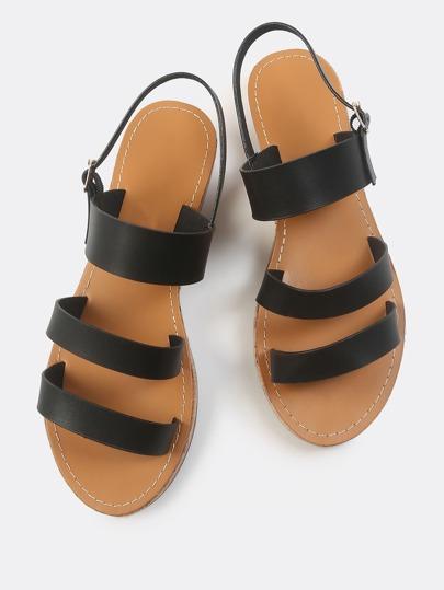 Faux Leather Triple Strap Sandals BLACK