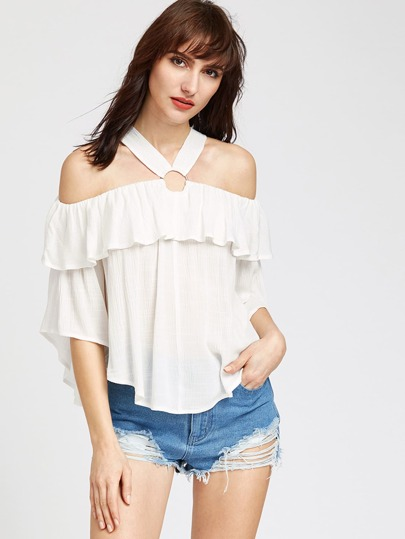 O Ring Cold Shoulder Ruffle Top