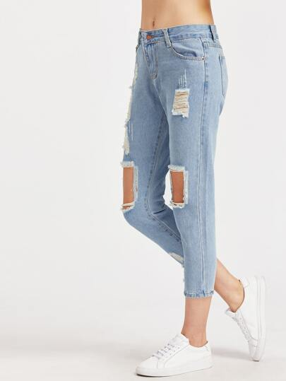Light Blue Cut Out Ripped Jeans