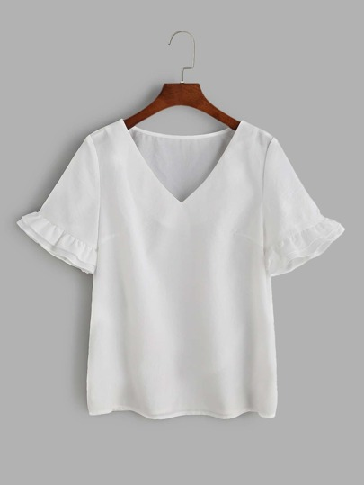 White V Neck Frill Sleeve Top