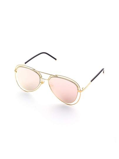 Lunettes de soleil Double Bridge Gold Frame Pink Lens