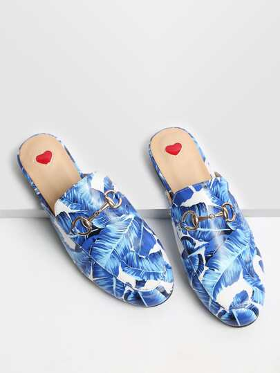 Blue Leaf Print Loafer Slippers