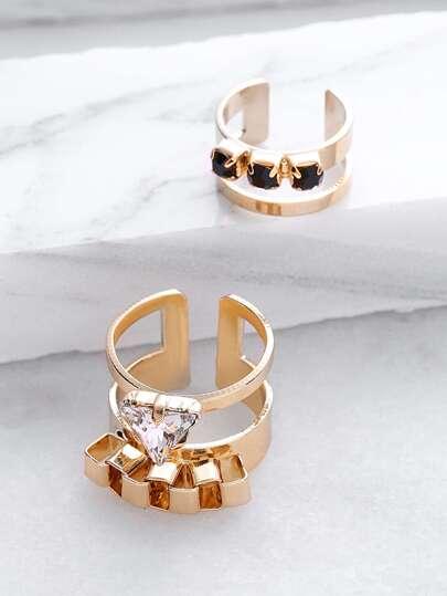 Set anillo hueco con apliques cristales - dorado