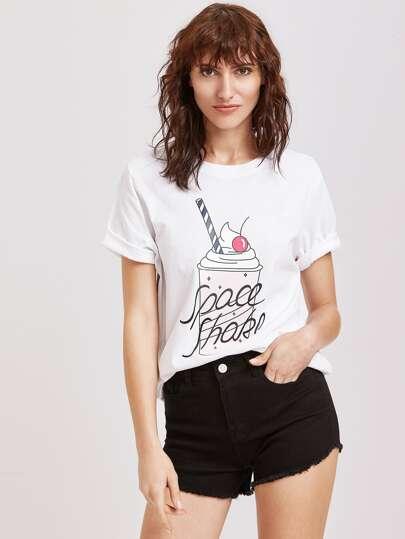 T-shirt blanc d'impression de crème glacée