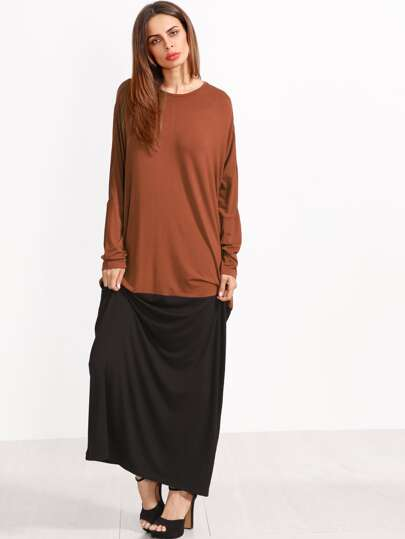 Color de cuello redondo manga larga vestido maxi