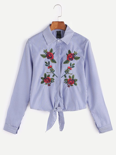 Blue Striped Flower Embroidered Shirt