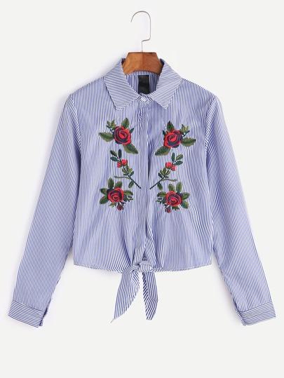 Chemise brodée fleur rayée bleue