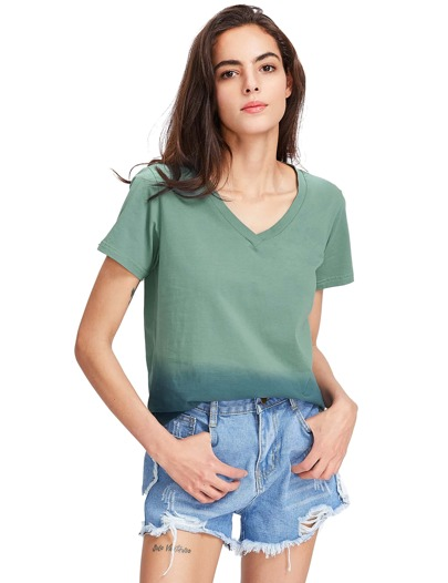 Pale Grey V Neck Loose T-shirt