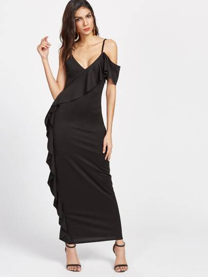 Black Asymmetric Cold Shoulder Ruffle Trim Dress
