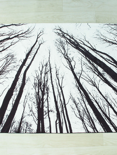 Black And White Forest Print Beach Blanket