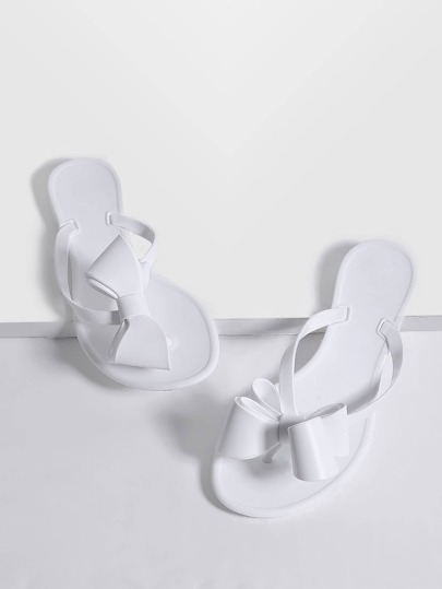 White Toe Post Bow Embellished Slippers