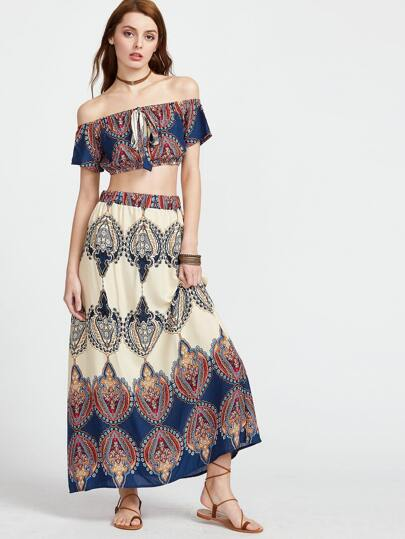 Vintage Print Off The Shoulder Crop Top With Skirt