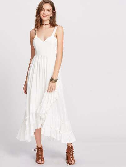 Thick Strap Tiered Pleated Frill Hem Dress