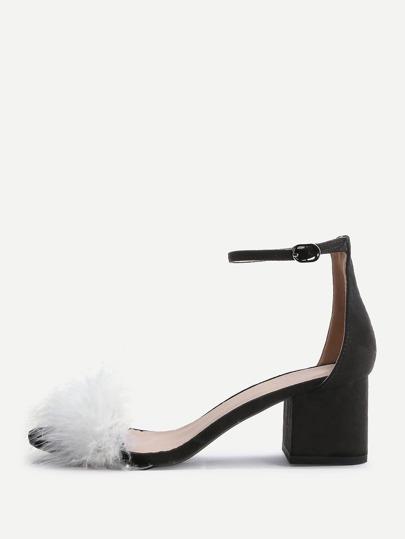 Sandalias de tacón grueso con correa al tobillo con piel sintética - negro