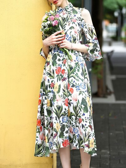 Multicolor Open Shoulder Flowers Print Dress