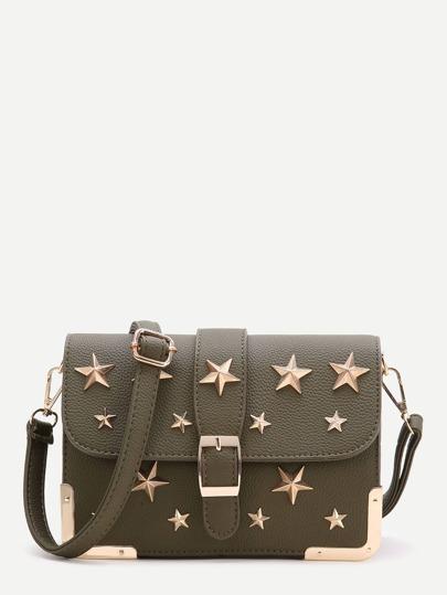 Dark Green Star Flap Crossbody Bag