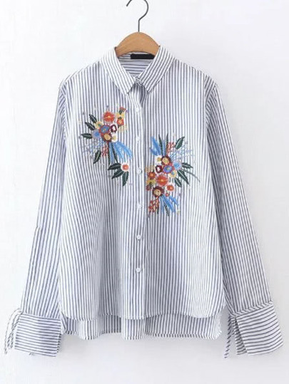 Embroidery Vertical Striped High Low Blouse