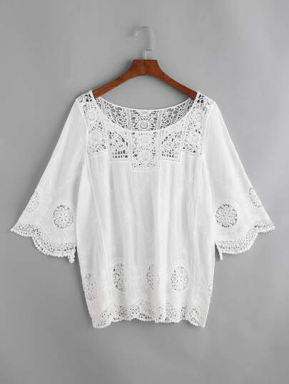 Embroidered Contrast Crochet Lace Cover Up